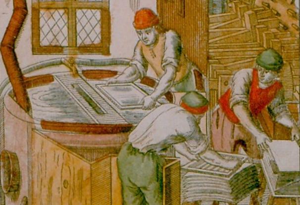 Elias Porzel, «Das wohlausgesonnene Pappiermachen», dans Curioser Spiegel, in welchem der allgemeine Lauff des ganzen menschlichen Lebens... vorgestellt wird, Nürnberg, verlegt bei Johann Endter, 1689