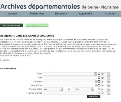 Copie d'écran du site web des Archives départementales de la Seine-Maritime