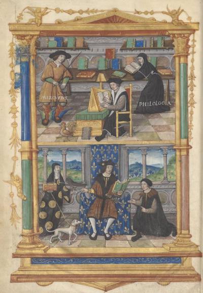Miniature, De l'institution du prince, Guillaume Budé (c. 1519)