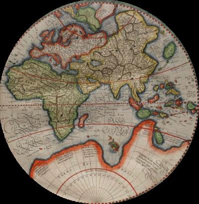 Détail de la mappemonde dessinée par Rumold Mercator (1587)