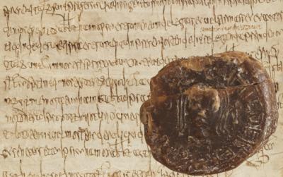 Sceau de Childebert III (K 3, n° 14) et jugement de Childebert III du 23 décembre 694 (K 3, n° 9)