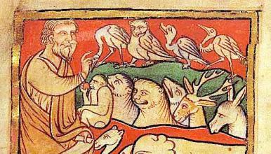 Miniature anglaise de la fin du XIIe siècle: Adam donnant son nom à chaque animal